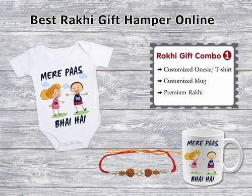 Baby Rakhi Gift Hampers Online, Personalized Mug, Rakhi Baby Onesie