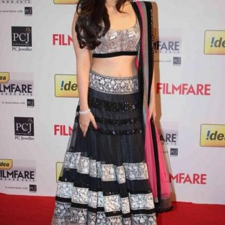 Bolywood Actress Aalya Bhatt in Beautiful Black Lehenga -0
