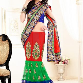 Alluring Designer Multi Colour Bridal Saree-0