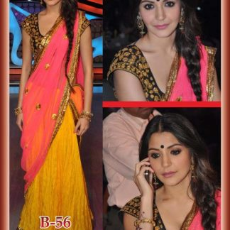 Bollywood Replica Anushka Sharma Pink and Yellow Lehenga-0