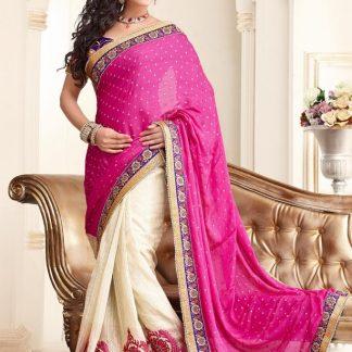 Beautiful Pink And Cream Bridal Saree-0