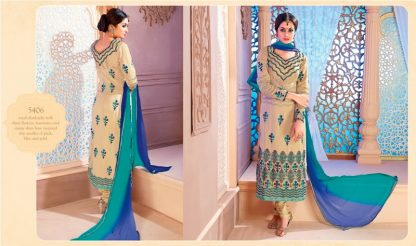 Beautiful Beige and Sky Blue Georgette Dress Material-0