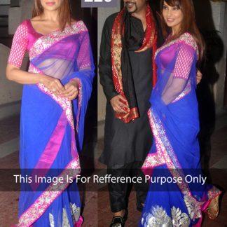 Bipasa Basu in Designer Blue and Pink Net Saree-0