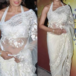 Bollywood Actress Bipasha Basu in Sterling White Netted Saree-0