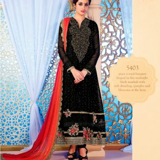 Bold Black Semi Stitched Georgette Dress Material-0