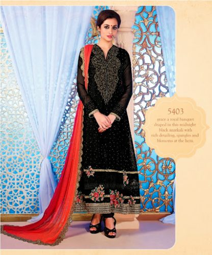Bold Black Semi Stitched Georgette Dress Material-0