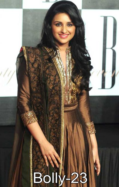 Bollywood Actress Parineeti Chopra in Gold Salwar Kameez-0