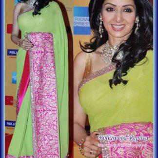 Bollywood Actress Sridevi in Green and Pink Saree-0