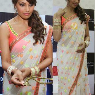 Bollywood Replica Bipasa White Saree-0