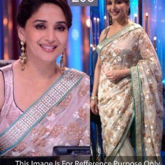 Sizzling Bollywood Replica Madhuri Cream Net Saree-0