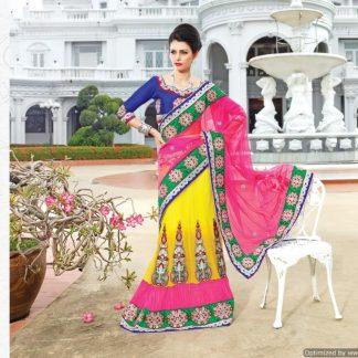 Breath-Taking Multi Colour Dupian Designer Saree-0