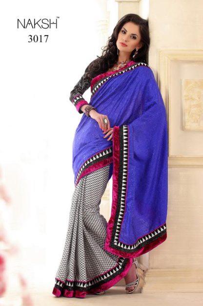 Breathtaking Blue and Check Designer Saree-0