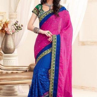 Casual Goegette Designer Blue and Pink Saree-0
