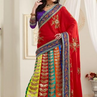 Classical and Modern Red and Violet Lehenga-0