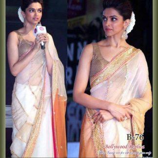 Stunning Actress Deepika Padukone in Beautiful Net Saree-0