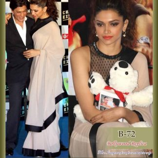 Beautiful Actress Deepika Padukone in Black and White Crepe Saree-0