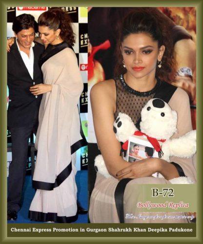 Beautiful Actress Deepika Padukone in Black and White Crepe Saree-0