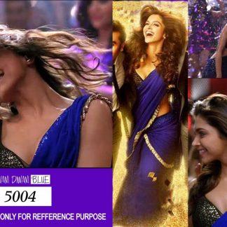 Bollywood Actress Deepika Padukone Sterling Deep Blue Designer Saree-0