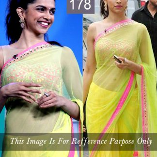 Buy Deepika Padukone Replica Green Saree online in India-0