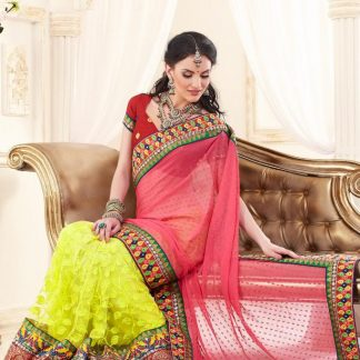 Designer Net Saree with Brasso Fabric-0