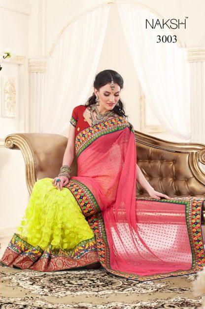 Designer Net Saree with Brasso Fabric-0