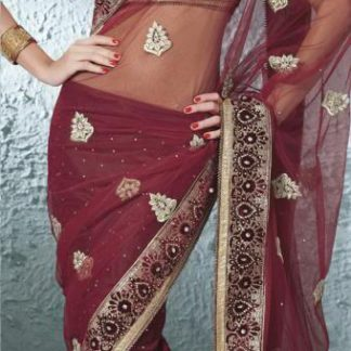 Marvellous Designer Red Wine with Golden Lehenga Saree-0