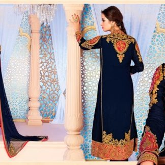 Beautiful Designer Semi Stitched Georgette Salwar Suit in Navy Blue-0
