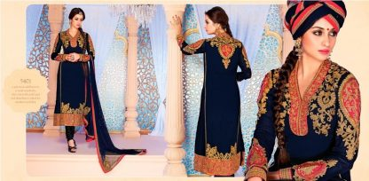 Beautiful Designer Semi Stitched Georgette Salwar Suit in Navy Blue-0