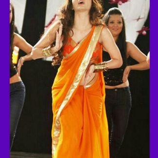 """Sterling Orange Saree Worn on The Music """"Dhak Dhak""""-0"""