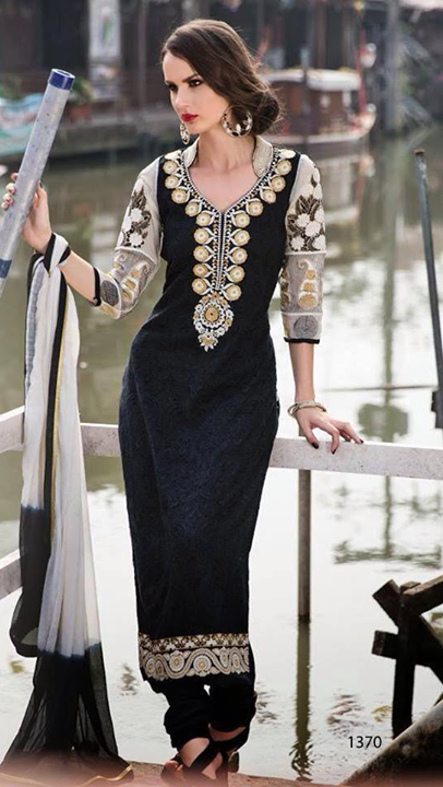 Gorgeous Black Lawn Suit with Self Embroidery-0