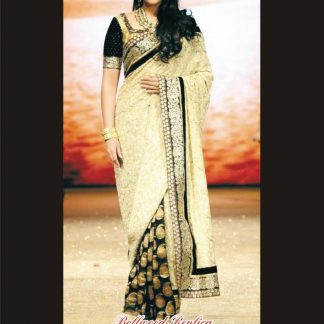 Bollywood Style Embroidered Sonakshi Replica Cream-Black Saree-0
