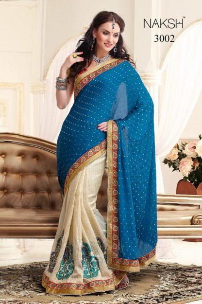Pure Ethnic Blue and Cream Designer Bridal Saree-0