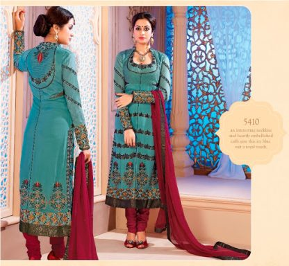 Gorgeous Semi Stitched Georgette Dress Material in Light Blue-0
