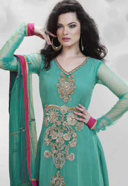 A Unique Piece of Bottle Green Salwar Suit with Red Wine Border-0