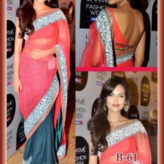 Bollywood Actress Isha Gupta in a Pink and Dark Grey Saree-0