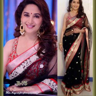 Bollywod Actress Madhuri Dixit in Bold Black and Red Saree-0