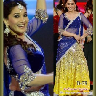 Bollywood Replica Madhuri Dixit in Yellow and Blue Lehenga-0