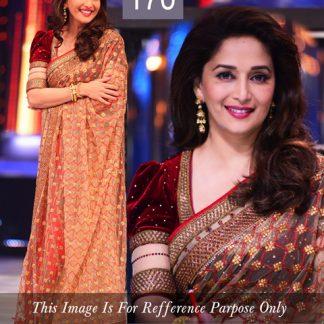Bollywood Actress Madhuri Replica Beige Jhalak Saree-0