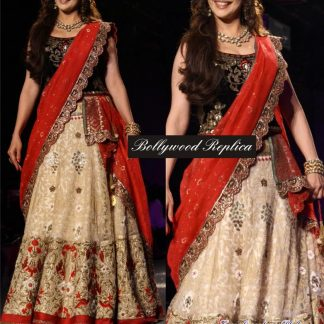 Evergreen Bollywood Diva Madhuri Replica Cream-Red Lehenga-0