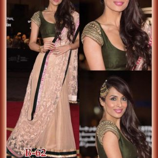 Bollywood Malaika Arora Khan Dark Green and Off White Lehenga-0