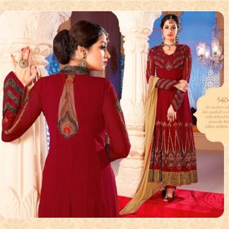 Maroon Georgette Dress Material with Beautiful Prints-0