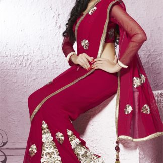 Maroon and Golden Mixture of Beautiful Lehenga Saree-0