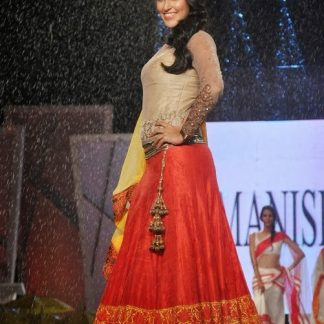 Bollywood Actress Neha Dhupia Red Semi-Stitched Designer Lehenga-0