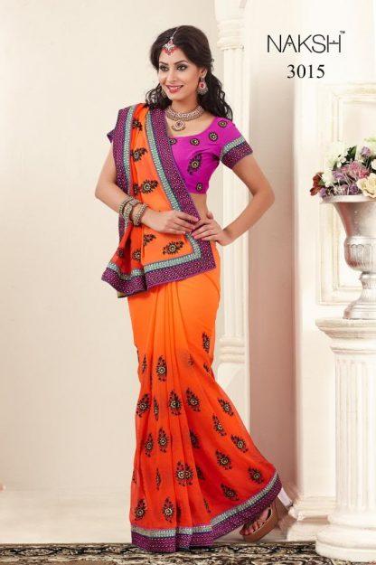 Orange and Pink Crape Designer Saree-0