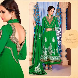 Beautiful Parrot Green Georgette Semi Stitched Dress Material-0