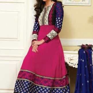 Pink and Blue Stylish Designer Anarkalis Suit-0
