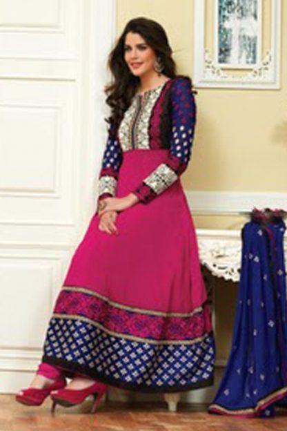 Pink and Blue Stylish Designer Anarkalis Suit-0