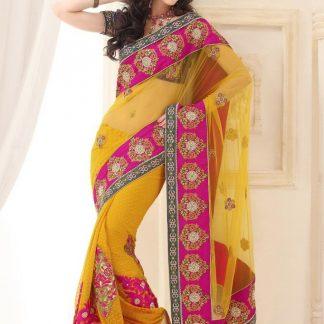 Splendid Pink and Yellow Designer Net Saree-0
