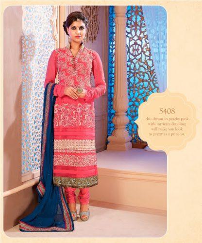 Peachy Pink Georgette Semi Stitched Salwar Kameez-0