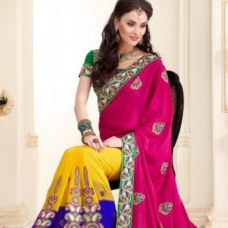 Pretty Semi-Stitched Designer Saree-0